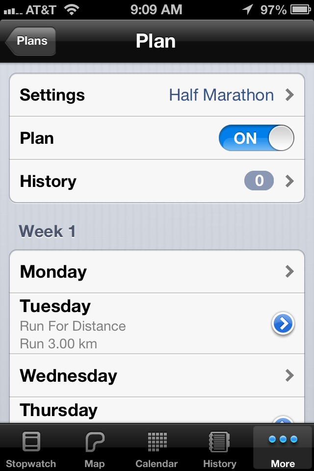5K Runmeter App Training Plan Screenshot