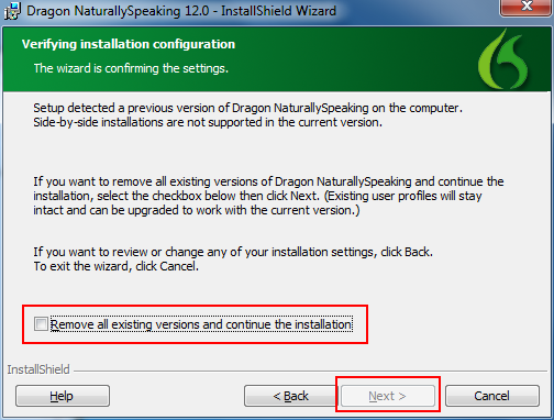Dragon NaturallySpeaking install