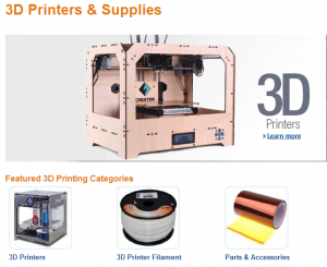 Amazon Store 3D Printing Screen Shot