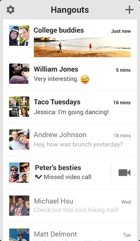 Google Hangout iOS Screenshot