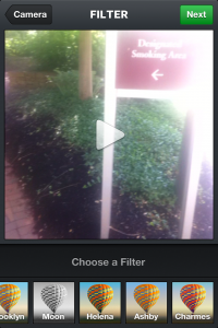 Instagram Video Filter Screen