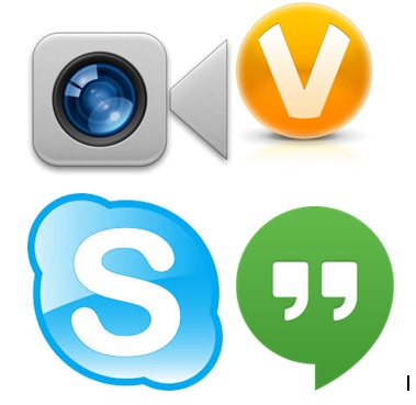 Video-chat services logos