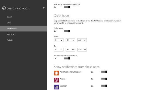 Windows 8.1 Quiet Hours